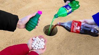 Firecracker vs Coca Cola, Sprite and Mentos Underground!