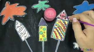 How to draw and color simple fireworks for Kids, Toddlers ☆ Kelly Fun Art ☆