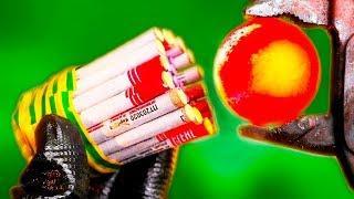 GLOWING 1000 DEGREE METAL BALL VS FIRECRACKERS