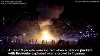 Hot air balloon full of fireworks explodes over festival