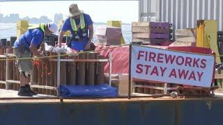 Macy's loads barges for NYC July 4th fireworks