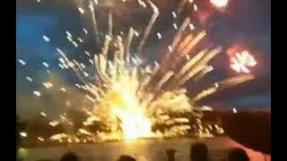 Момент взрыва салюта в Минске в честь Дня независимости осколки пусковой установки посекли людей