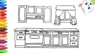 Как нарисовать кухня с MiMi | Раскраски детей HD | Рисование и окраска