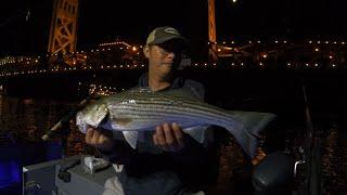 Catching Striper Bass during fireworks @ Old Sacramento Bridge in August