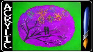 Love Birds Watching fireworks/Acrylic painting for Begginers