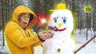 Снеговик против петарды! Что будет если в снеговика засунуть супер петарду. Жёлтый блогер 13+