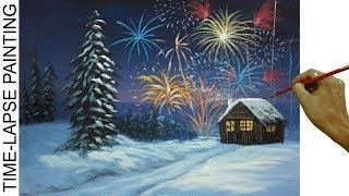 How to Paint Fireworks on Winter Christmas Eve with Barn | Acrylic Painting in Time lapse