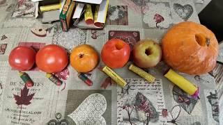 Взрыв овощей и фруктов петардами Пуля-дура. Корсар 6. Корсар 8.