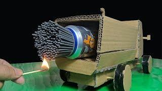 EXCELLENT COMBINATION of Matches and Fireworks - Cool Matchstick Powered Quad Jet Monster Truck