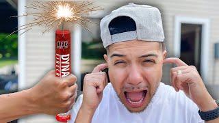LAST TO GET SCARED OF FIREWORKS CHALLENGE!!! Sanchez Squad | Legit Tim | Sarah Grace