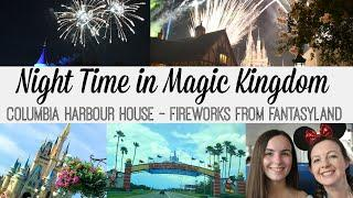 MAGIC KINGDOM AT NIGHT | Watching the Fireworks From Behind the Castle | Columbia Harbour House