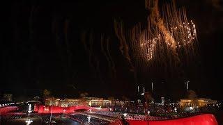 Fireworks light up Beijing's night sky in shape of '70'