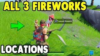 """Launch fireworks"" All 3 Fireworks Locations! Fortnite Week 4 Challenges"
