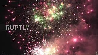 Fireworks above Brandenburg Gate conclude Day of German Unity