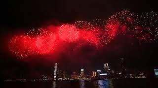 Fireworks in Hong Kong on 1 Oct 2018