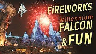 STAR WARS Galaxy's Edge at NIGHT! | Fireworks, Millennium Falcon & FUN