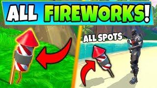 Fortnite FIREWORKS: Launch Fireworks Along the River Bank Locations! (14 Days of Summer Challenges)
