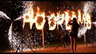 Огненная надпись и вертушки фонтанов на корпоратив | Ростов | GOF show