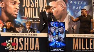 FIREWORKS AT ANTHONY JOSHUA-JARRELL MILLER PRESS CONFERENCE