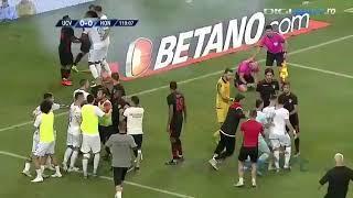 Арбитру попали петардой в голову во время матча.