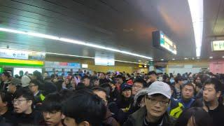 Crazy Crowded? : Post Taipei 101 Fireworks Celebration Walk to MRT Metro System (Better Audio)