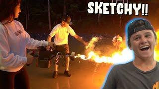 Using a FLAME THROWER to light Fireworks!!