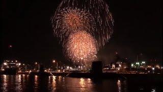 潜水艦と花火 Submarine&Fireworks  呉海上花火大会2019 KURE Fireworks display 呉地方隊 アレイからすこじま Japan