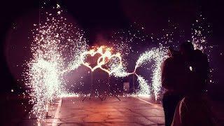 Вертушки из холодных фонтанов и двойное сердце на свадьбу в Ростове | GOF show