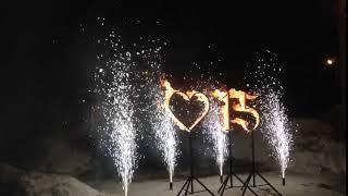 Огненное сердце, цифры, фонтаны