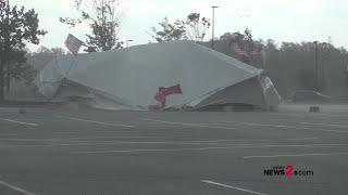 Walmart Fireworks Tent Caves In During Storm