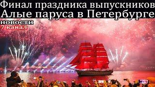 Финал праздника выпускников Алые паруса в Петербурге 2021.