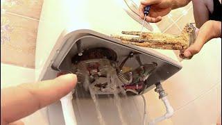 Потёк водонагреватель ARISTON. Показываю как самостоятельно снять и очистить тен и заменить анод.