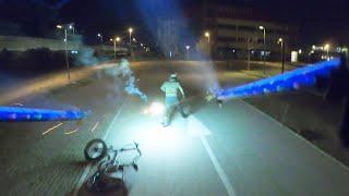DRONE anti Cyclist - 1000 Rockets / FIREworks against Cyclist