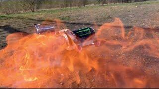 Experiment vs Fireworks: Monster energy ,Red bull, Matches, Fire