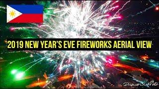 2019 New Year's Eve Fireworks Aerial View in the Philippines 4K