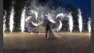 """Фигура из фонтанов на свадьбу """"Веер фонтанов"""""""