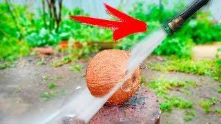 ЭКСПЕРИМЕНТ: возможно ли разрезать водой кокос ?!