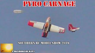 PYRO / FIREWORKS BURNING FOAM MODELS WITH GHENGIS FIRWORKS AT THE SOUTHERN RC MODEL SHOW - 2019