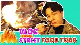 Korean street food tour VLOG , Korean Beef Mukbang | Fireworks in the Restaurant ?