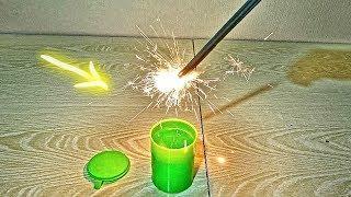 Что будет если бенгальские огни опустить в слайм, бензин и фейри?!!!