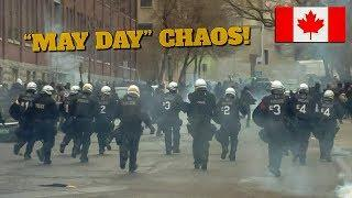 """Montréal   """"May Day"""" Demo Becomes Riot After Vandalism, Fireworks & Tear Gas Exchanged With Police"""