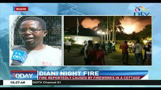 A fire reportedly caused by fireworks in a cottage in Diani