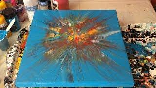 Fluid Acrylic Painting - Starburst Paper Towel Swipe  - Fireworks