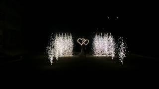 ОГНИ19сердца и дорожка из фонтанов