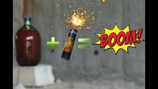 Взрыв самой мощной петарды в стеклянной бутыли.