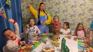 Веселая ПИЖАМНАЯ вечеринка. КРУТОЕ День рождение Анюты. Прыжки в мешках, ШОКОЛАДНЫЙ фонтан