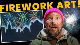 Art Lesson Online: Make outstanding FIREWORKS ART using chalk & stencils. Great in class or at home!