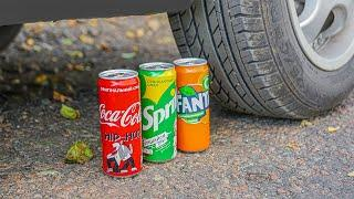 Crushing Crunchy & Soft Things By Car! - Experiment : Coca Cola , Fanta, Sprite vs Car