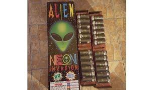 NEW*Six Neon invasion 60g canister shells Alien fireworks demo