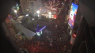 Fireworks set off in Yonge-Dundas Square after Raptors win